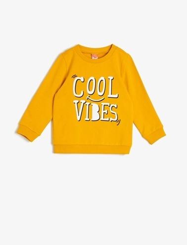 Koton Kids Yazili Baskili Sweatshirt Sarı